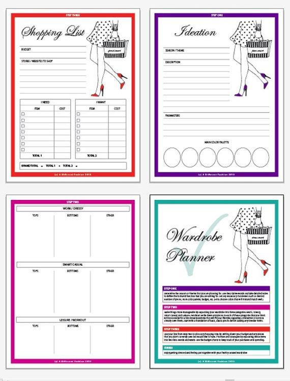 Printable Wardrobe Planner, Printable Planner, Digital Print