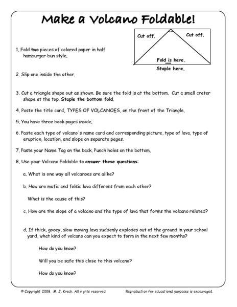 Make A Volcano Foldable 5th 8th Grade Worksheet Lesson Pla