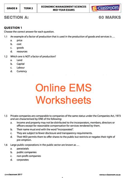 Grade 8 Online Economic Management Science Worksheets  For More