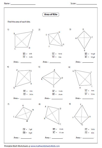 Area Of Kite Worksheet