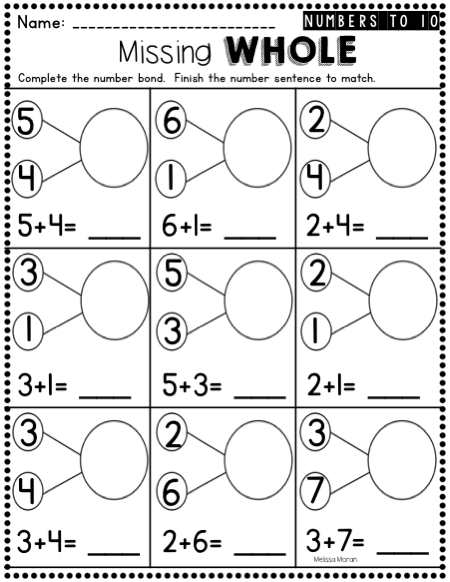 Kindergarten Number Bonds Worksheets To 10
