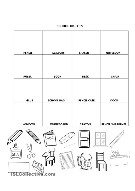 Classroom Objects Worksheets For Kindergarten Pdf  Classroom