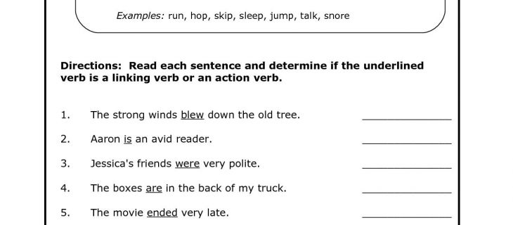 6th Grade Grammer Worksheets Study Action And Linking Verbs