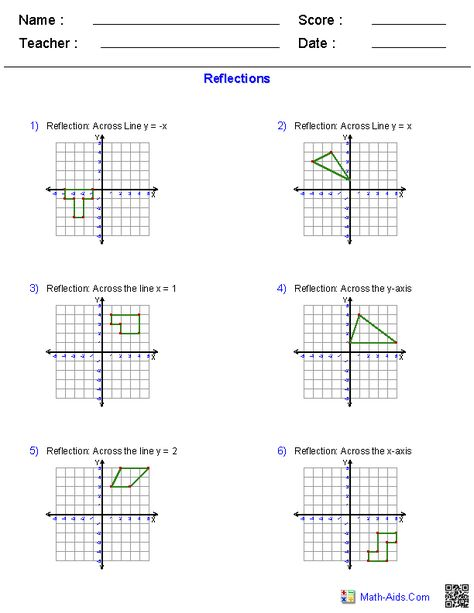Reflections Worksheets