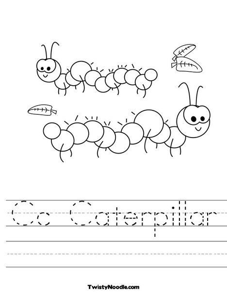 Cc Caterpillar Worksheet From Twistynoodle Com