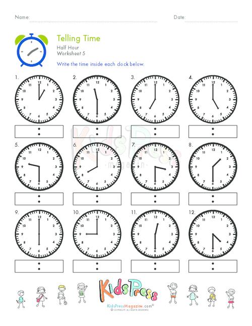 Telling Time Half Hour Worksheet   5