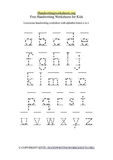 Free Kindergarten Handwriting Worksheets