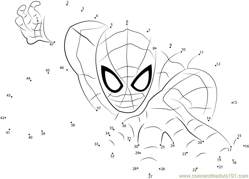 Download Or Print Spiderman The Superhero Dot To Dot Printable