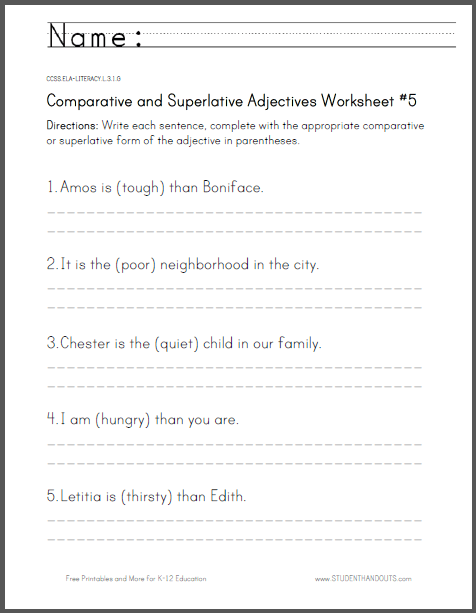 Comparative And Superlative Adjectives Worksheet  5