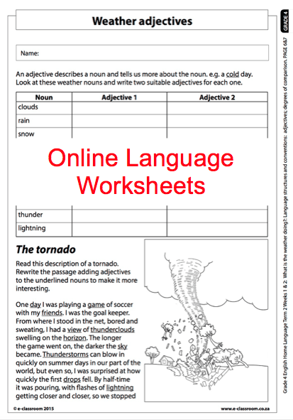 Grade 4 Online Language Worksheet, Weather Adjectives  For More