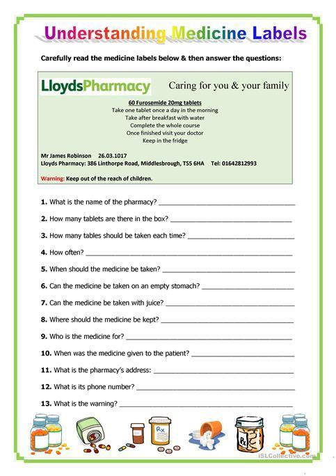 Image Result For Medicine Worksheets Printable