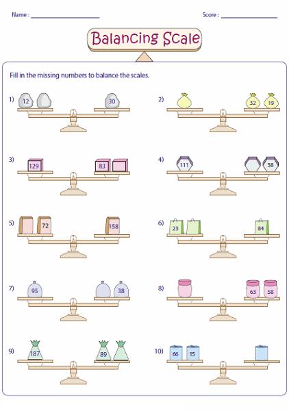 Simple Balance Scale Worksheet