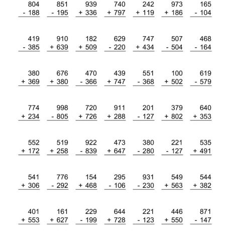 Addition And Subtraction Worksheets For Grade 3 2nd Grade Basic