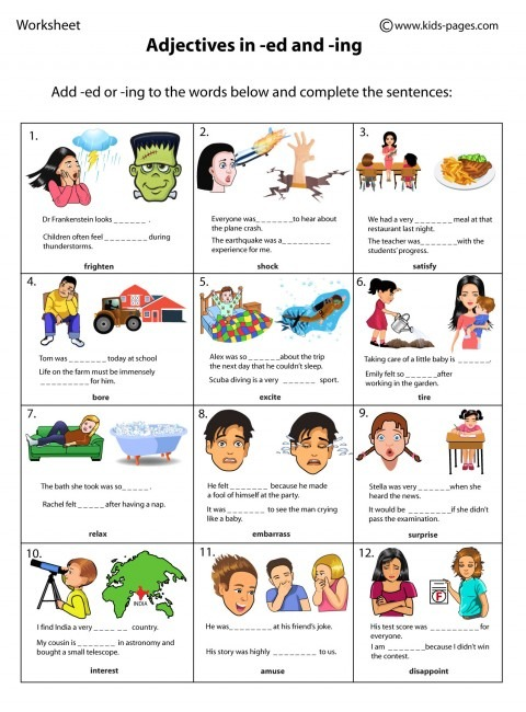 Adjectives In Ed And Ing 1 Worksheet