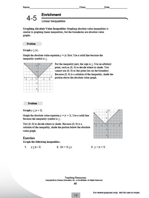 Integrated Math 2 Worksheets