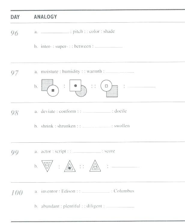Analogies For High School Students Worksheets