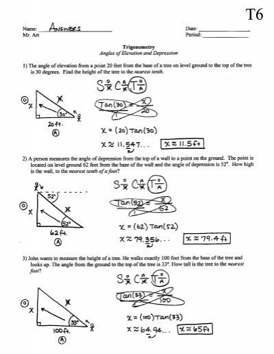 Sh Angle Of Elevation And Depression Trig Worksheet Answers