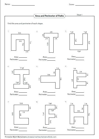 Area And Perimeter Geometry Worksheets Collection Of Download Them