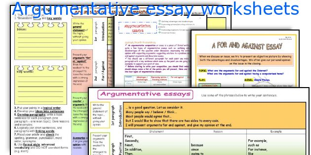 Argumentative Essay Worksheets