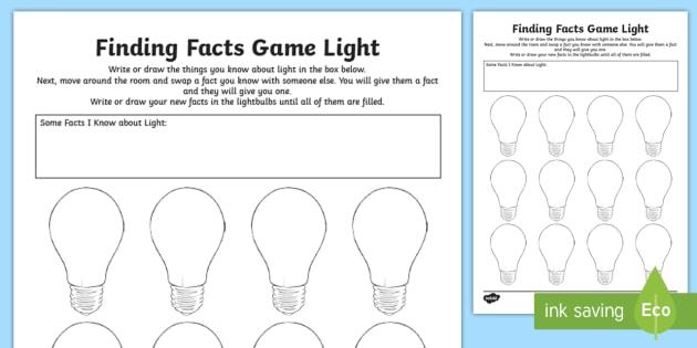 Light Finding Facts Worksheet   Worksheet