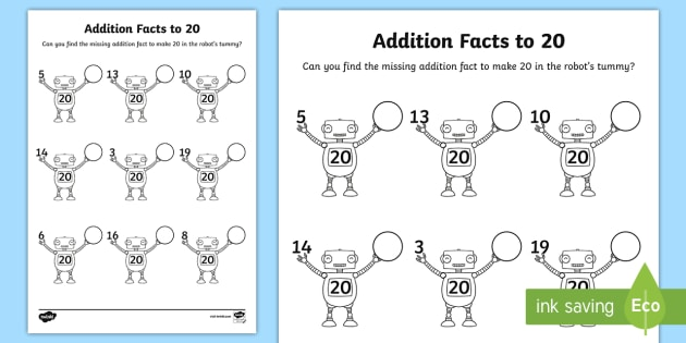Addition Facts To 20 On Robots Worksheet   Worksheet