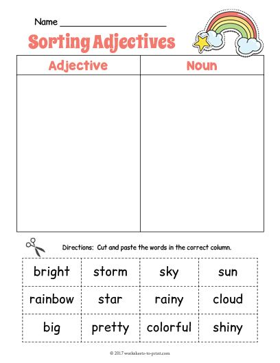 Free Printable Rainbow Adjective Sorting Worksheet