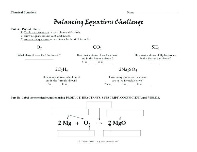 Balancing Equations Worksheet Answers Chemistry Formula Sheet