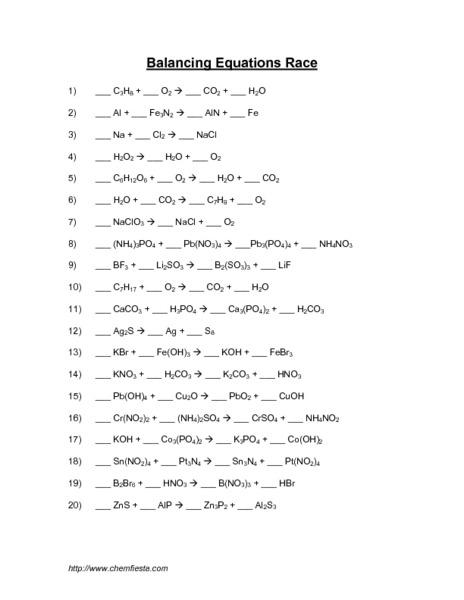 Worksheet Balancing Equations Key Worksheet Balancing Equations