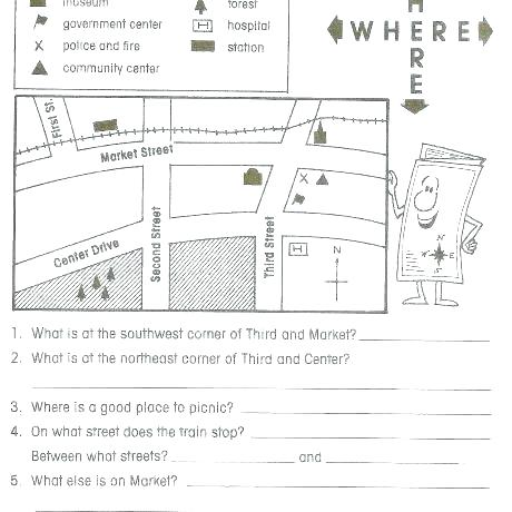 Basic Map Skills Worksheets Free Kindergarten Map Skills