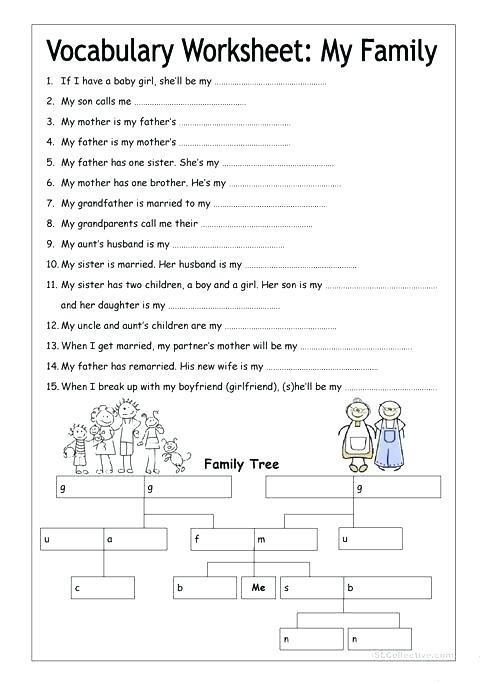 Worksheet On My Family For Grade 1