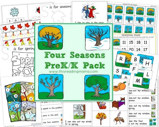 Free Worksheets  Four Seasons Prek K Printable Pack