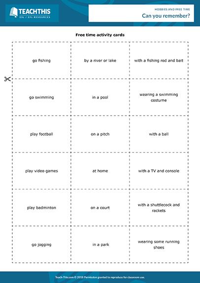 Hobbies Free Time Esl Activities Games Worksheets