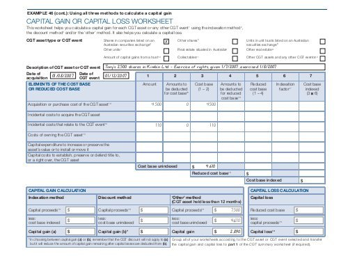 Capital Gain Or Capital Loss Worksheet