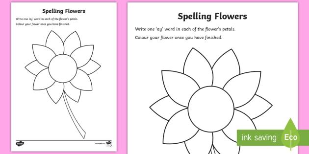 New   'ay' Sound Spelling Flowers Worksheet