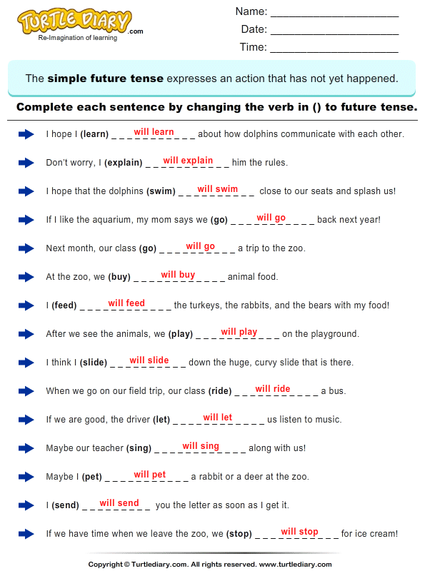 New 531 Future Tenses Worksheets For Grade 3