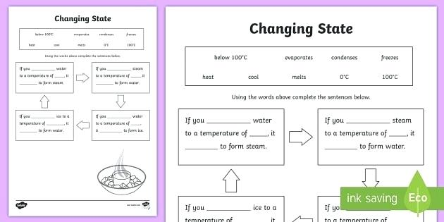 Changes In States Of Matter Worksheets Unique Changing Ice Water