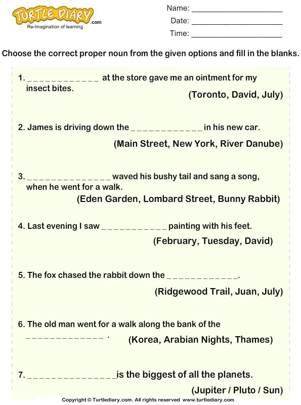 Choose Proper Noun For Given Sentences Worksheet