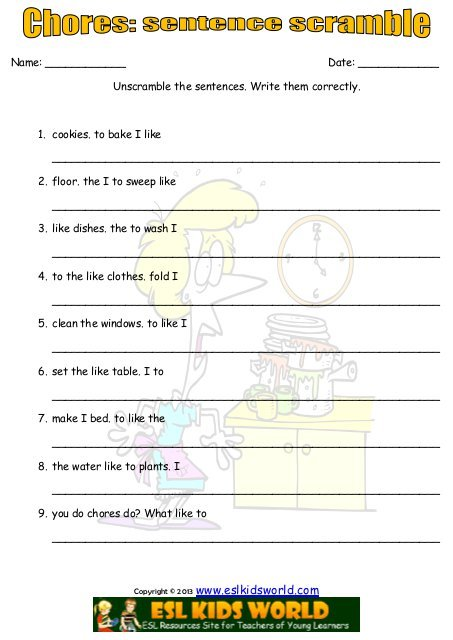 Chores Sentence Scramble Worksheet