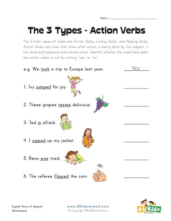 Action Verbs Worksheet