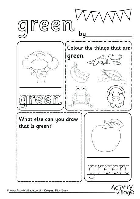 Color Green Preschool Worksheets Color Recognition Worksheets For