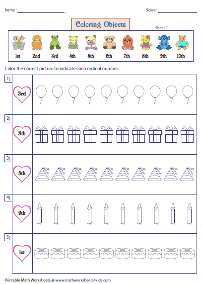 Ordinal Numbers Worksheets And Charts