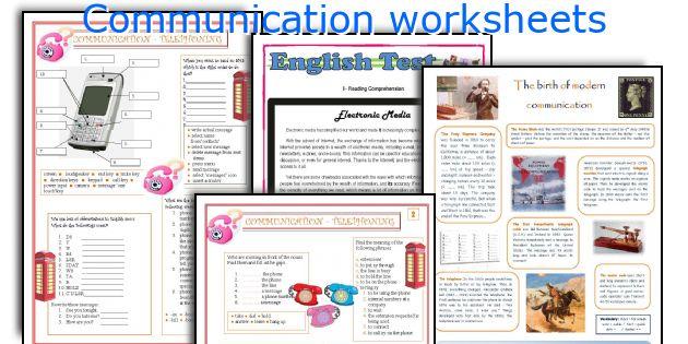 Communication Worksheets Worksheets