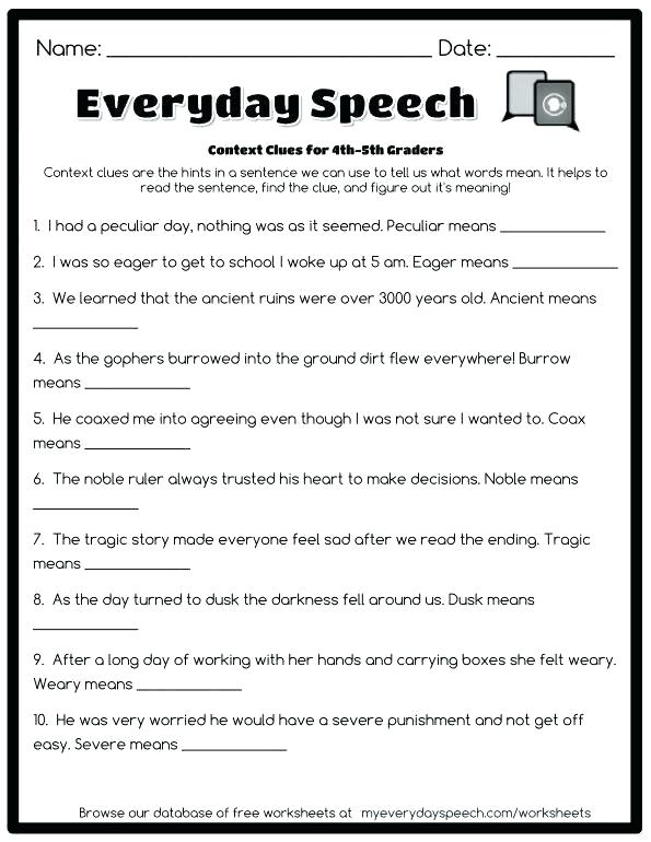 Context Clues Worksheets 8th Grade Multiple Choice 8