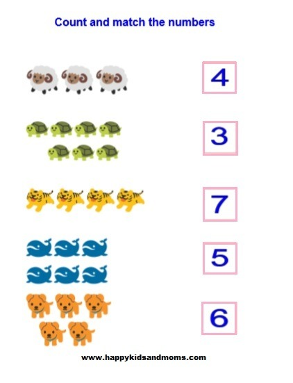 Count And Match Preschool Worksheet – Happy Kids And Moms