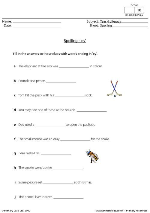 This Year 4 Literacy Worksheet Focuses On Words Ending In 'ey
