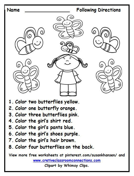 Free Following Directions Worksheet With Color Words Provides A