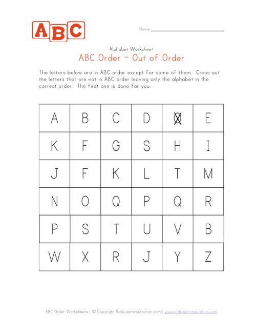 Kindergarten_abc Order Practice Worksheet