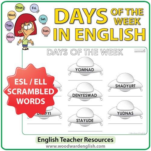 English Days Of The Week – Ufo Worksheet