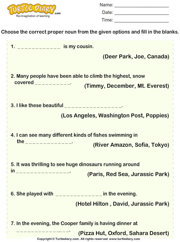 Determine The Proper Noun For Each Sentence Worksheet