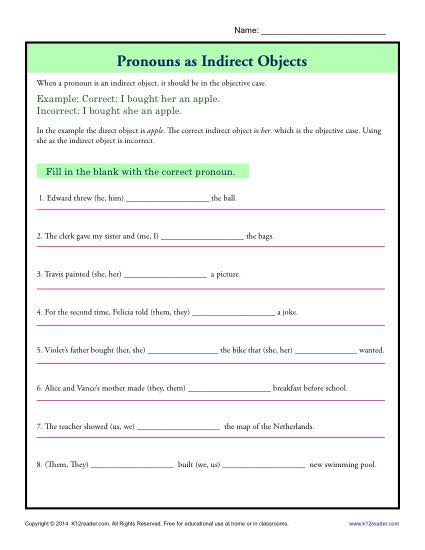 Direct And Indirect Objects Worksheets